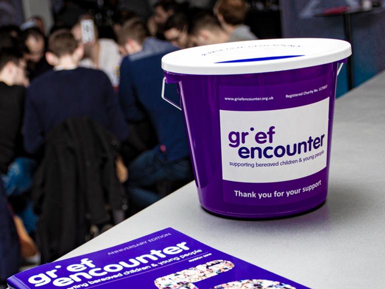 Grief Encounter fundraising bucket