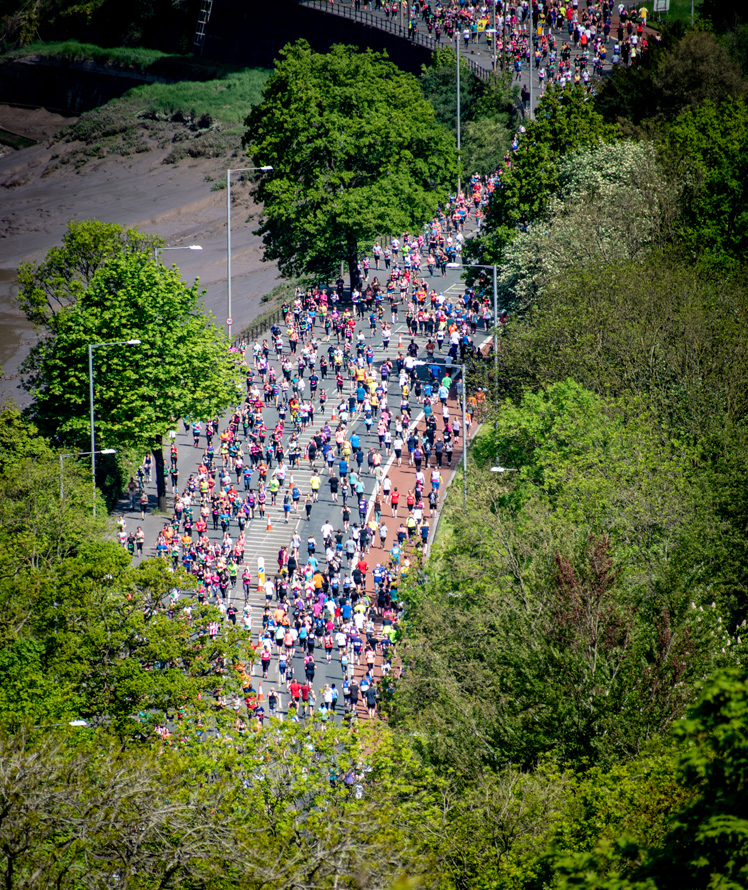 Runners at the Bristol 10k running along the Portway